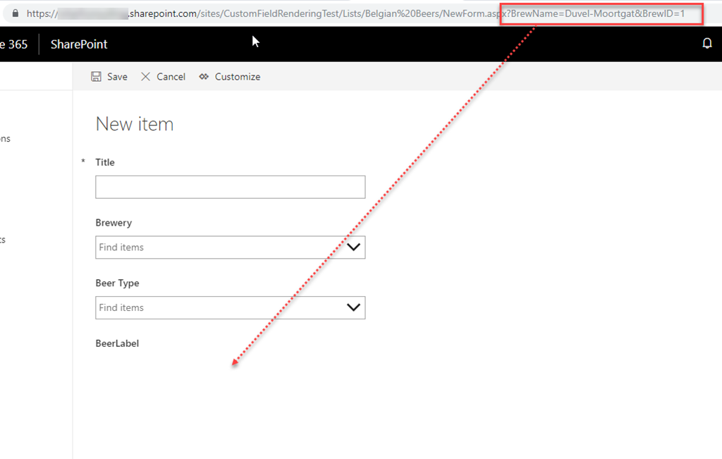 Passing a Param object to a SharePoint PowerApp list form