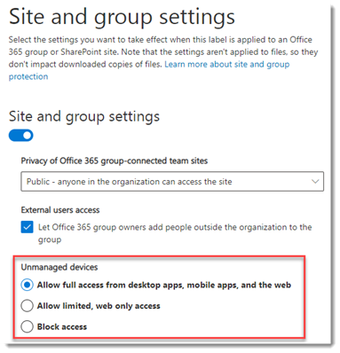 Site Sensitivity conditional access policies settings