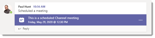 Channel meetings announcements in the channel thread