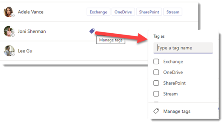 Manage notification tags from the Manage Team dialog